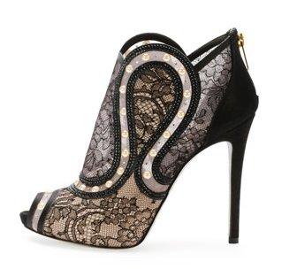 rene caovilla peep toe pearly lace bootie2