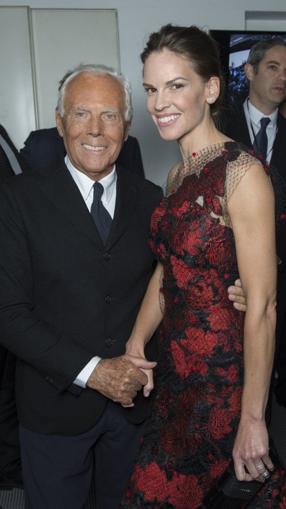 Giorgio Armani and Hilary Swank