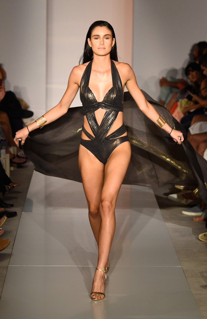 MIAMI BEACH, FL - JULY 18:  A model walks the runway at the Gottex Cruise 2016 runway show during SWIMMIAMI at 1 Hotel South Beach Salon on July 18, 2015 in Miami Beach, Florida.  (Photo by Frazer Harrison/Getty Images for Gottex)